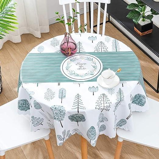 CAREXY Mantel Redondo PVC,plastico Vinilo Antimanchas Impermeable Resistentes Al Calor Mantel De Hule para Comedor Jardín Salón Banquete,D-135cm: Amazon.es: Hogar