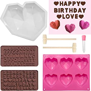 7 Pieces Diamond Heart Silicone Molds Set for Chocolate and Mousse Wedding Cake,Silicone Letter and Number Chocolate Mold with Wooden Hammers and Droppers for Home Kitchen DIY Tools Mother's Day Gift