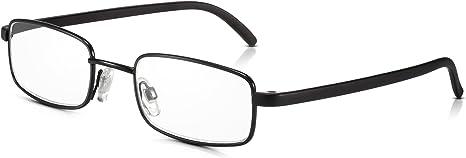Read Optics Gafas Hombre/Mujer de Lectura Vista +1.00 | con Lentes Transparentes Difuzer™ Antireflejos/Anti UV Graduadas desde +1 hasta +3.5 Dioptrías | Negras con Montura Metálica