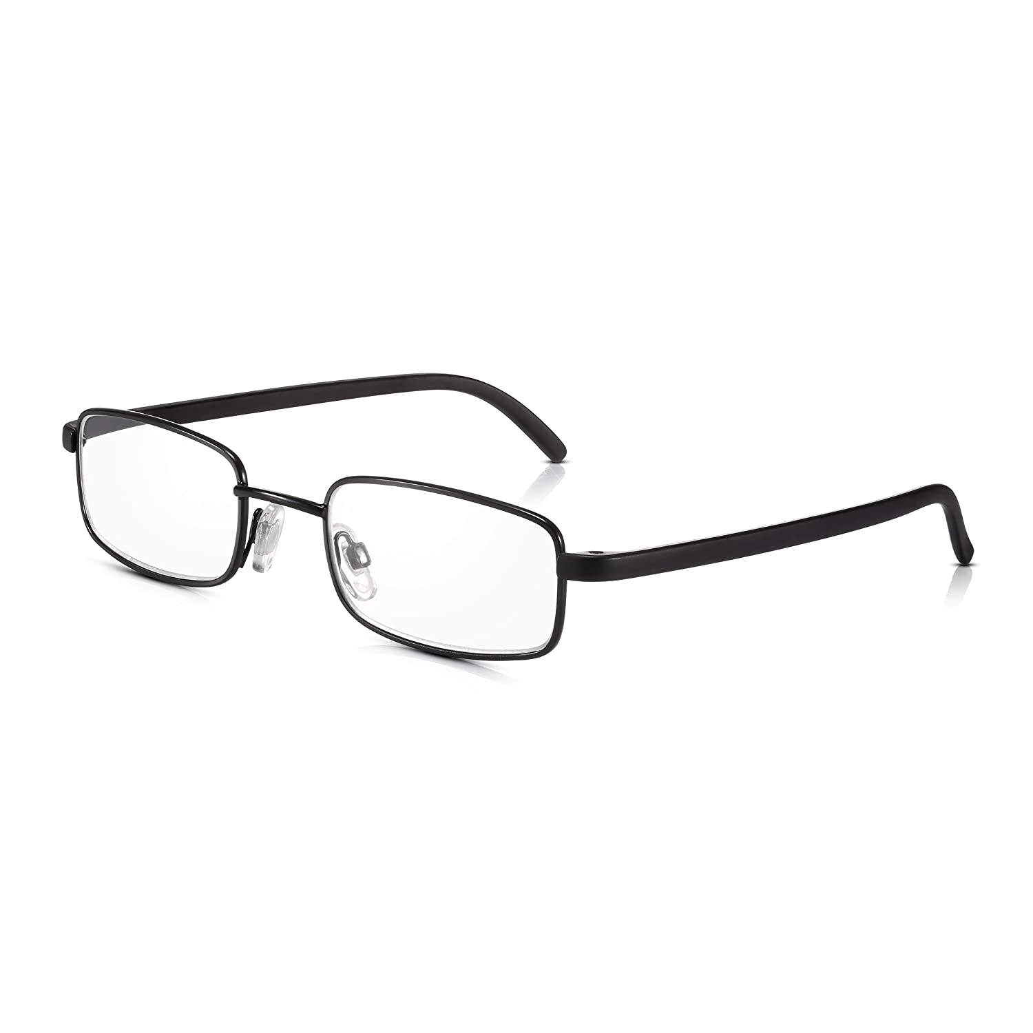 Read Optics 2 Pack Black Framed Metal Reading Glasses for Men/Women: Non-Prescription Reader Spectacles with Premium 2.00 Clear Lenses (1.0 to 3.5). High Optical Clarity, Anti-Glare, Scratch-Proof