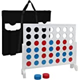 Giant 4 in a Row Game Solid Wood Connect 4 Game W/ Carrying Shoulder Bag 3 Foot Width Family Fun