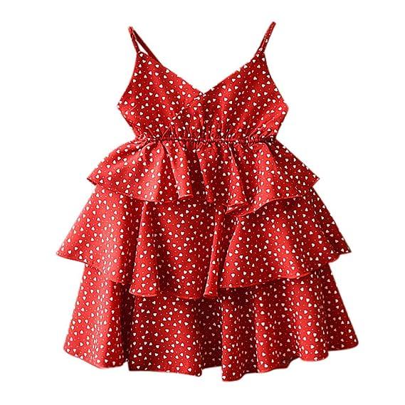 7f368789f Baiomawzh Ropa Niña Verano 2 a 3 4 5 6 7 años-Vestido de niña Sin