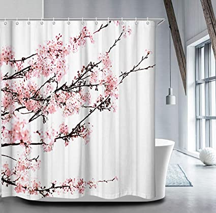 Livilan Cherry Blossom Shower Curtain Set With 12 Hooks Floral Decorative Mildew Resistant Waterproof