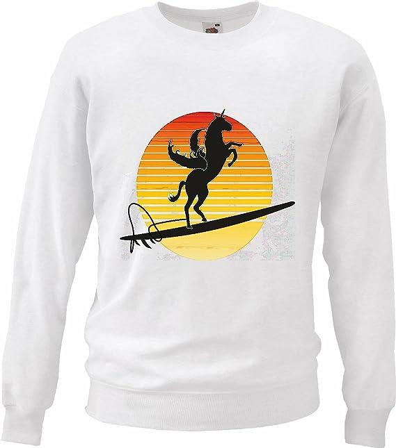 Sudaderas Suéter Pegasus Surf una Tabla de Surf Puesta del Caballo Unicornio en Blanco: Amazon.es: Ropa y accesorios