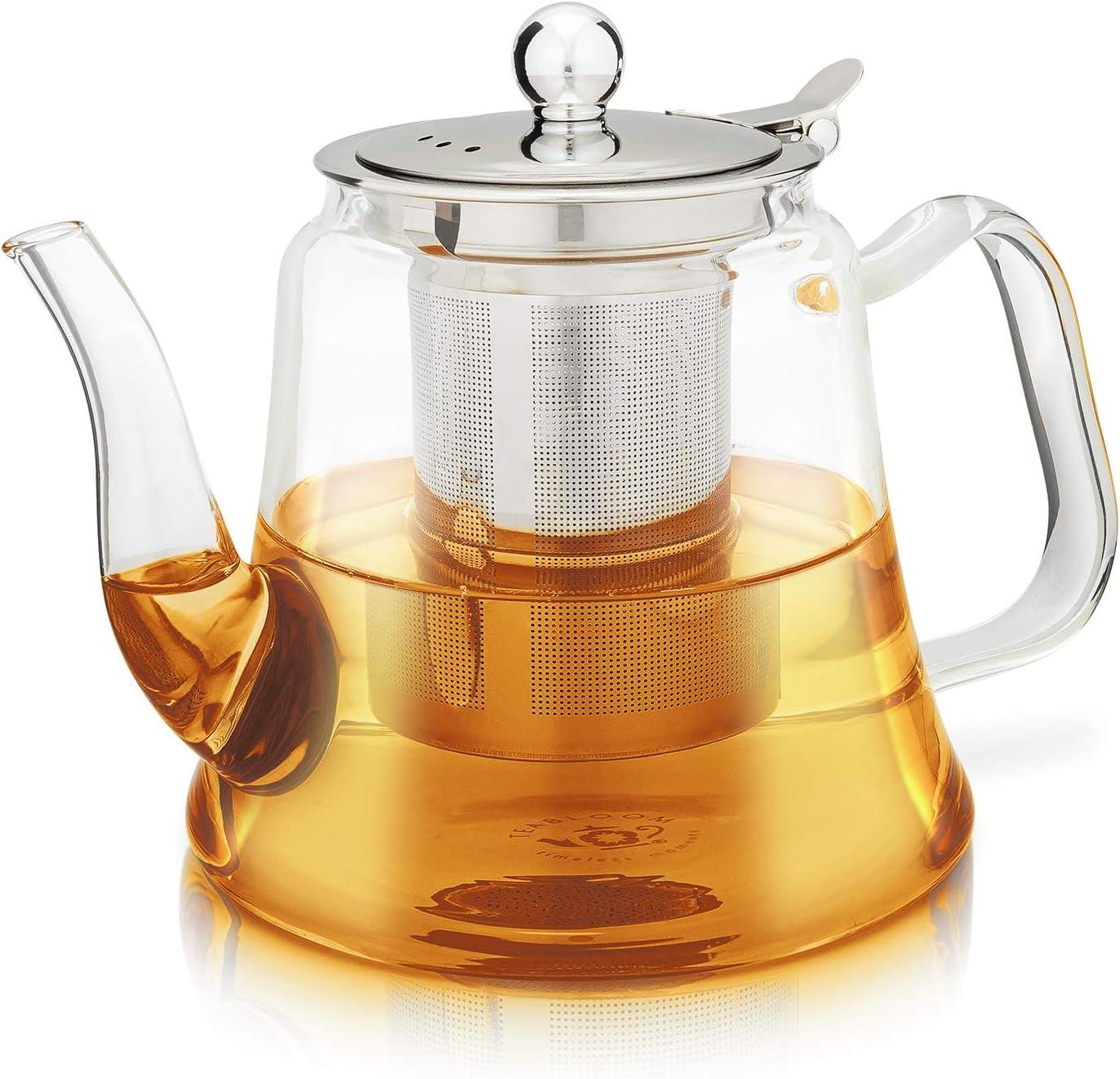 Teabloom Siena Teapot – Premium Borosilicate Glass Teapot with Removable Loose Tea Infuser – Stovetop Safe – Tea