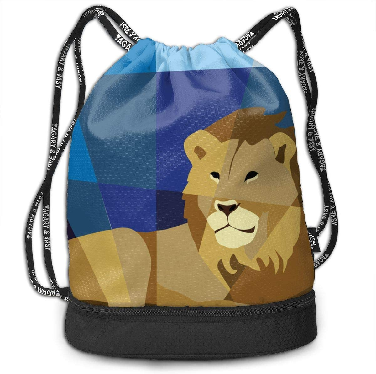 Lion Quilt Drawstring Backpack Sports Athletic Gym Cinch Sack String Storage Bags for Hiking Travel Beach