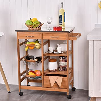 Amazon Com Bamboo Rolling Kitchen Island Trolley Cart Storage