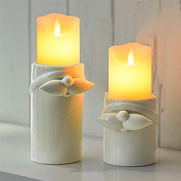 Weihnachtsdeko Weisses Porzellan.Victor S Workshop 2 Set Porzellan Weihnachten Kerzenhalter 7 6 11 2cm Weiß Kerzenständer Weihnachtsdeko Gefrorener Winter