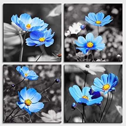 128d7b3cd4b Wall Art For Living Room Black and White cyan blue flower Canvas Wall Decor  for Home