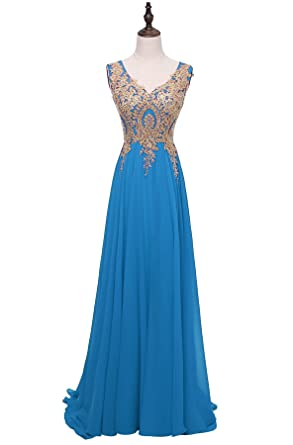 HEIMO Gold Lace Beaded Formal Prom Dresses Long V-Neck Sequined Appliques Evening Party Gowns