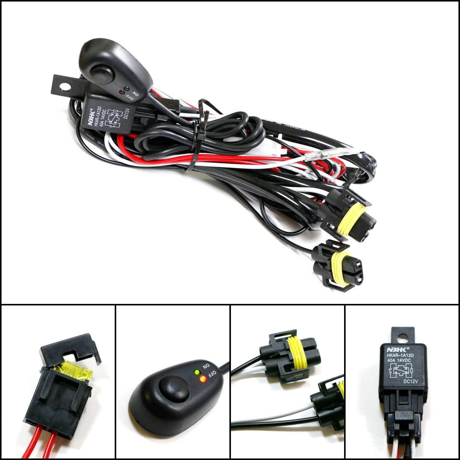 Amazon.com: Winjet Universal Wiring Harness Include Switch Kit Car Auto Fog  Lights Lamp Wire LED Off Road Wiring Kit 130W 40 Amp Relay: AutomotiveAmazon.com
