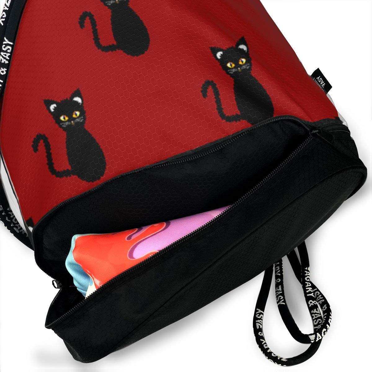 f056befd1dea Amazon.com: HUOPR5Q Black-cat Drawstring Backpack Sport Gym Sack ...