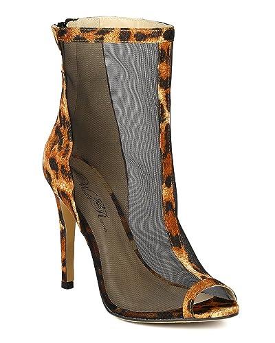 1711f938163f7a Wild Rose Women Mesh Fabric Peep Toe Stiletto Heel Bootie BA26 - Leopard  (Size