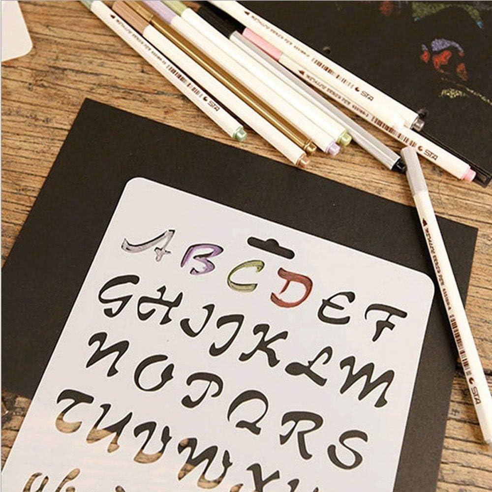 1,1 Journal de Bricolage Papeterie Journal Creux r/ègle Peinture mod/èle pochoirs en Plastique 26 Lettres