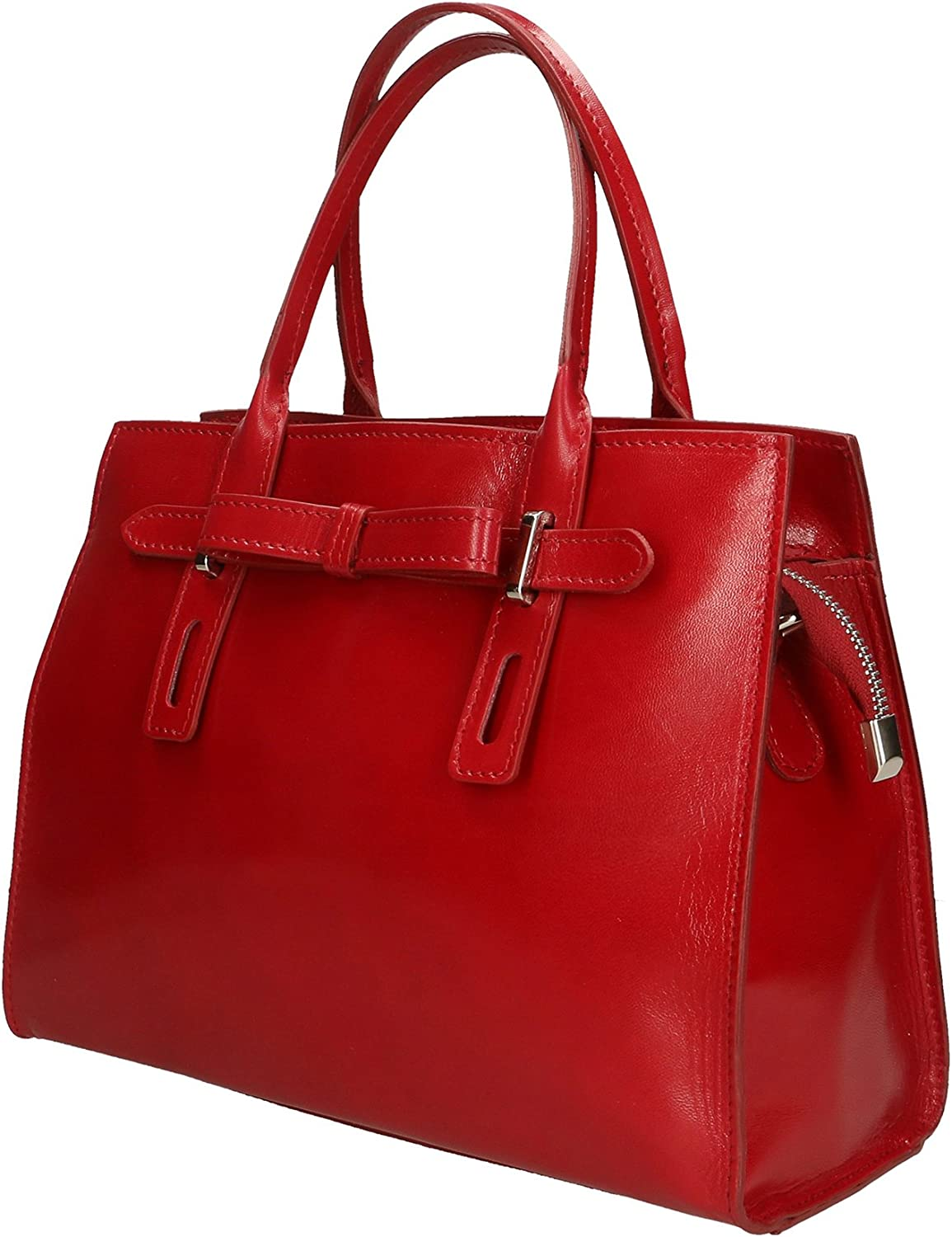 Chicca Borse Borsa a Mano Donna in Pelle Made in Italy 30x22x13 Cm Rosso
