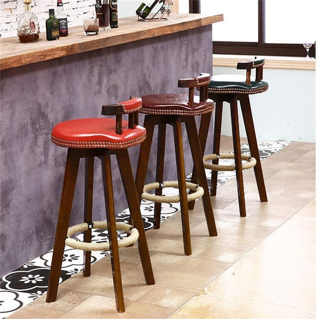 Bar tabourets Retro Dining Chair Swivel Lift Bar Stool Swivel Stool With Backrest Ajustable Height Kitchen Chairs TIANQIZ (Color : K) F