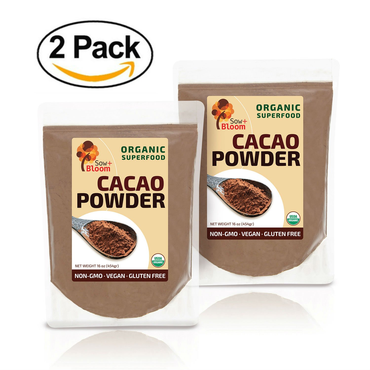 Cacao Powder Raw Organic Unsweetened Superfood by SOW+BLOOM – Sugar Free, Gluten Free, Non GMO – 1 lb (16 oz) 2 PACK, Not Cocoa Powder