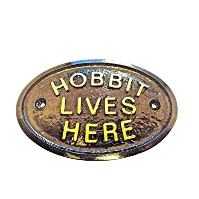 Hobbit Lives Here (Middle Earth) Garden Wall Or Fence Plaque/Sign (Black & Gold) : Garden & Outdoor