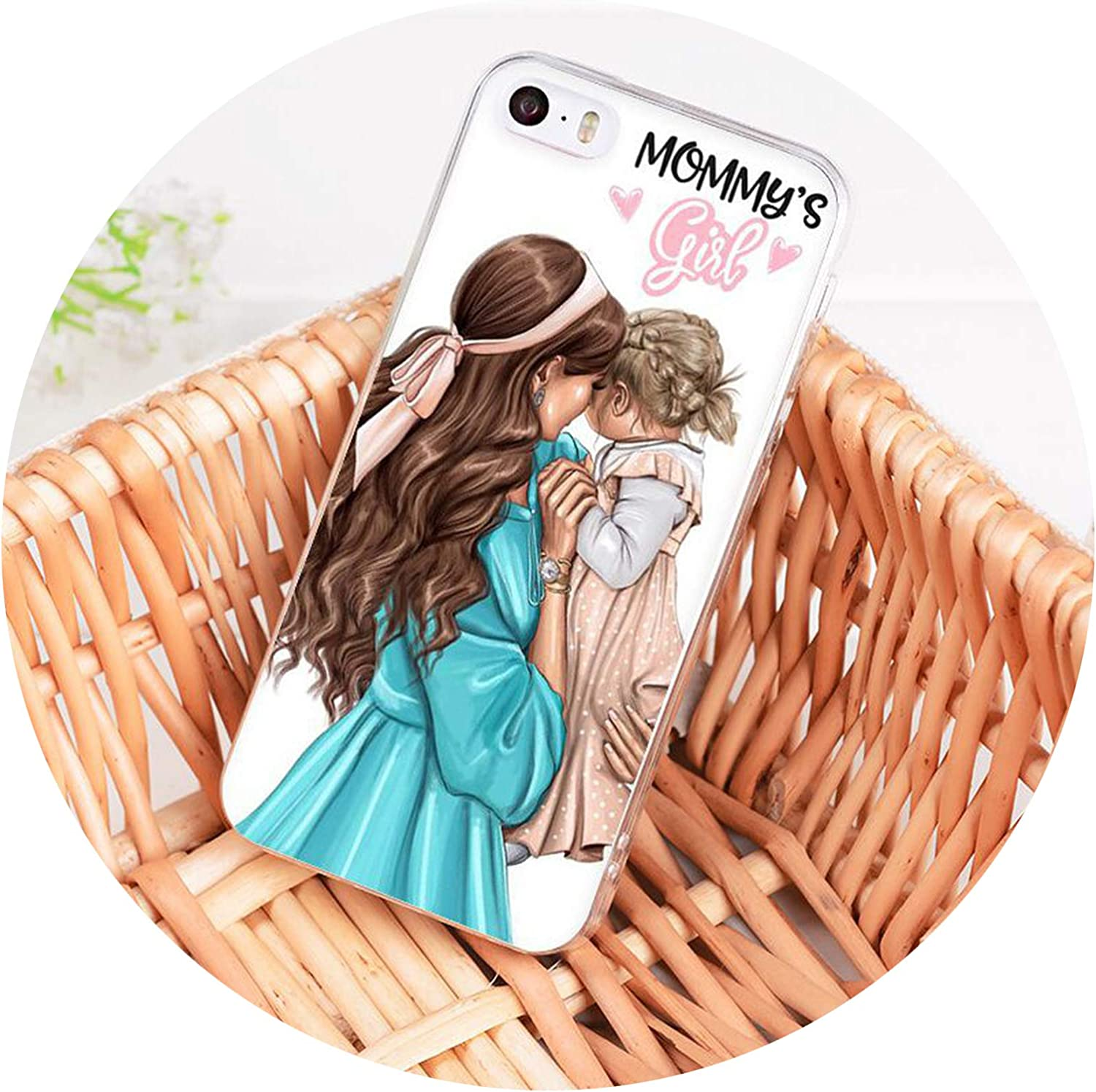Black Brown Hair Baby Mom Girl Sup Dad Phone Case for iPhone 8 7 6 6S Plus X XS MAX 5 5S SE XR 10 Cover,A5,for iPhone 5 5s SE
