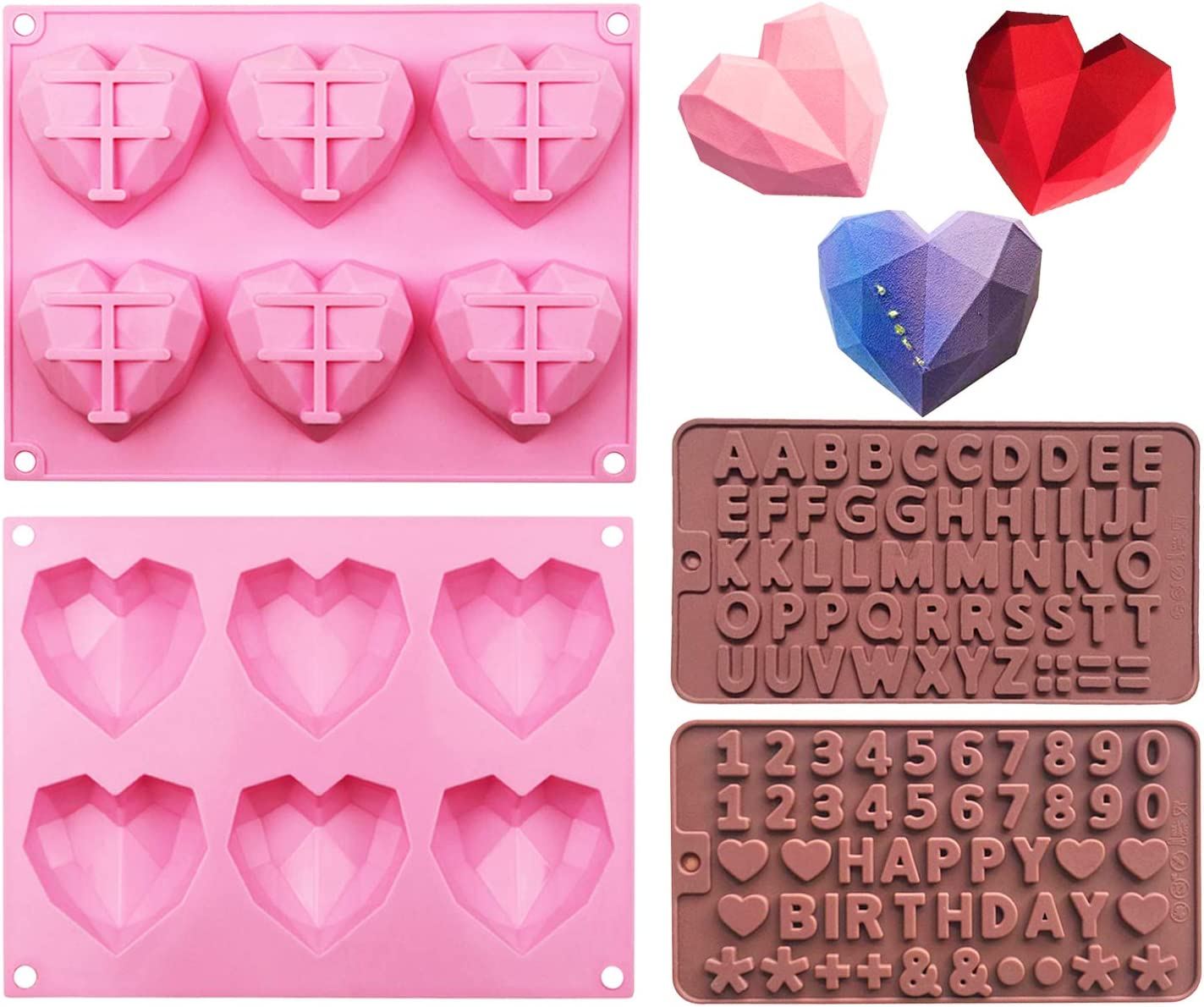 2 Pcs 6 Holes Diamond Heart Shaped Silicone Mold ,Comes with Silicone Letter and Number Chocolate Mold for DIY Cake Mousse Dessert, Candy Fondant, Cupcake Cheesecake