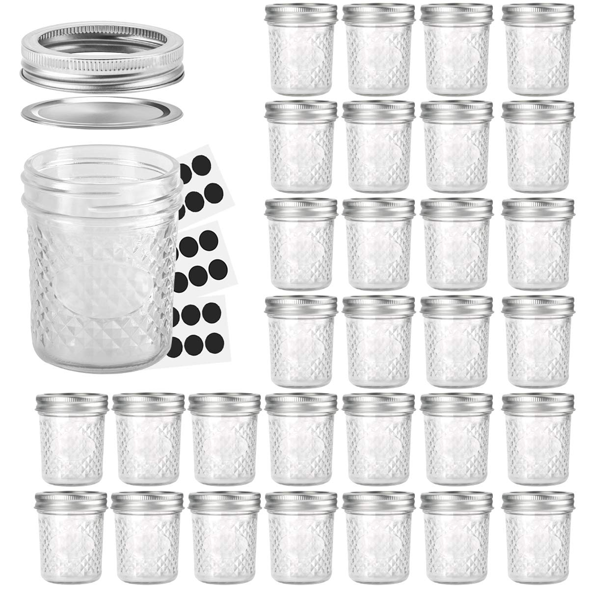 Mason Jars 6 OZ, VERONES 30 PACK 6oz Mason jars Canning Jars Jelly Jars With Lids and Bands, Ideal for Jam, Honey, Wedding Favors, Shower Favors, Baby Foods