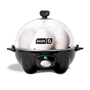Dash Rapid Egg Cooker: 6 Egg Capacity Electric Egg Cooker for Hard Boiled Eggs, Poached Eggs, Scrambled Eggs, or Omelets with Auto Shut Off Feature - Black (Renewed)