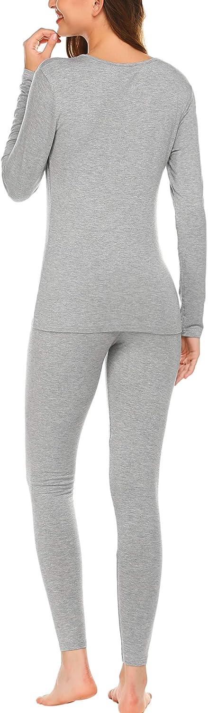 Ekouaer Plus Thermal Underwear Womens Soft Long John Winter Base Layer Slimming Sleepwear PJs Set S-XXL