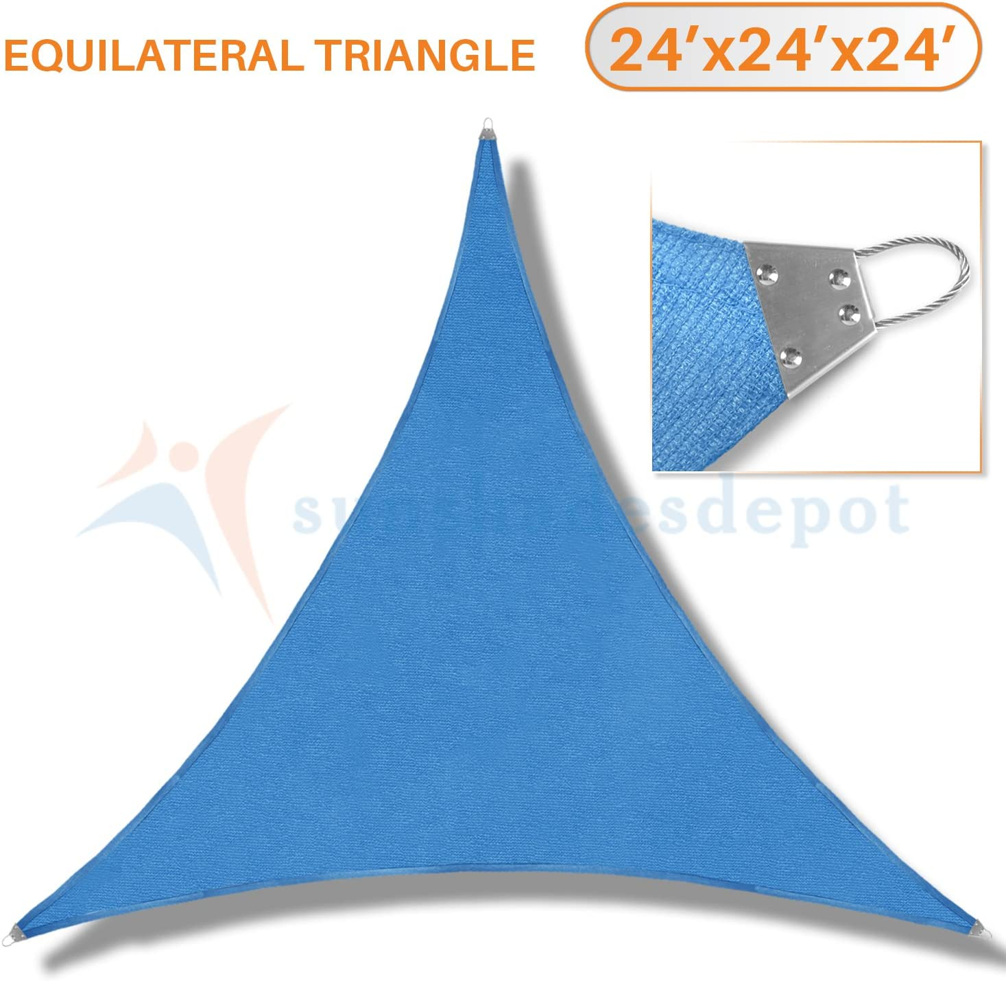 TANG Sunshades Depot 24 x24 x24 Reinforcement Large Sun Shade Sail Blue Equilateral Triangle Heavy Duty Metal Spring Outdoor Permeable UV Block Fabric Durable Steel Wire Strengthen 160 GSM