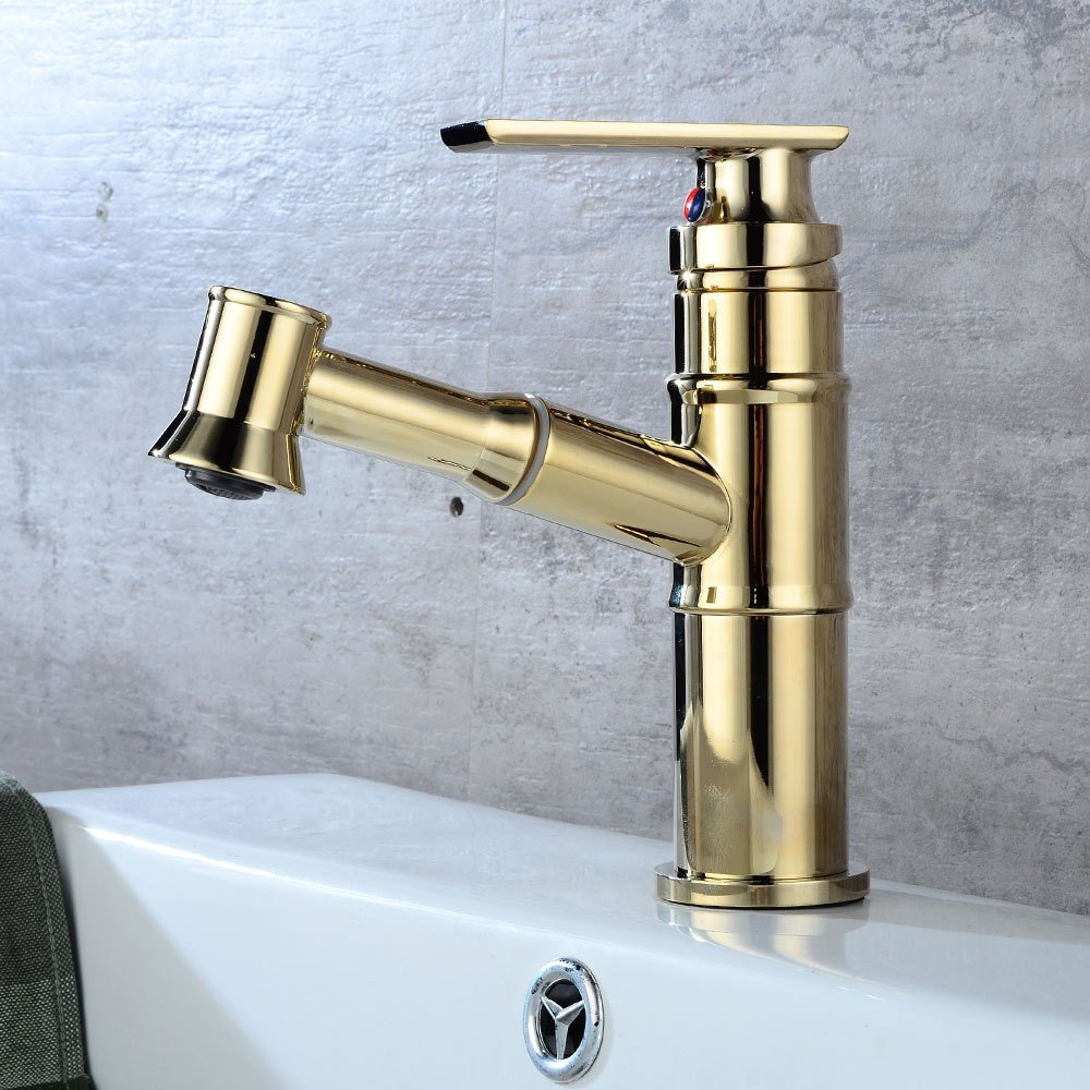 Rmckuva Bathroom Sink Taps Modern Basin Faucet Pull-Out Brass Bathroom Mixer Plating gold Mixing Faucet