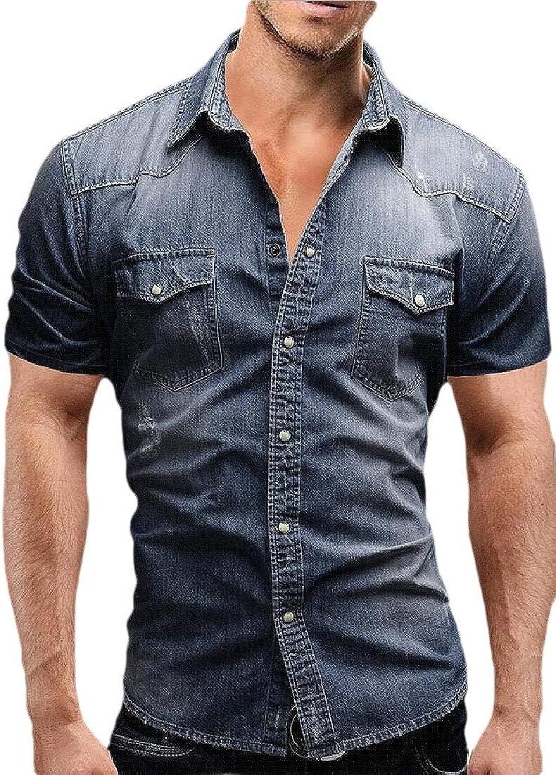 omniscient Mens Cowboy Casual Cotton Short Sleeve Denim Work Slim Fit Shirts Tops