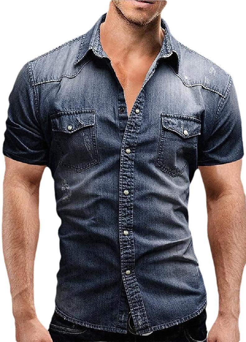 Men Blouse Shirt Casual Short Sleeve Slim Fit Button Down Solid Color Demin Tops