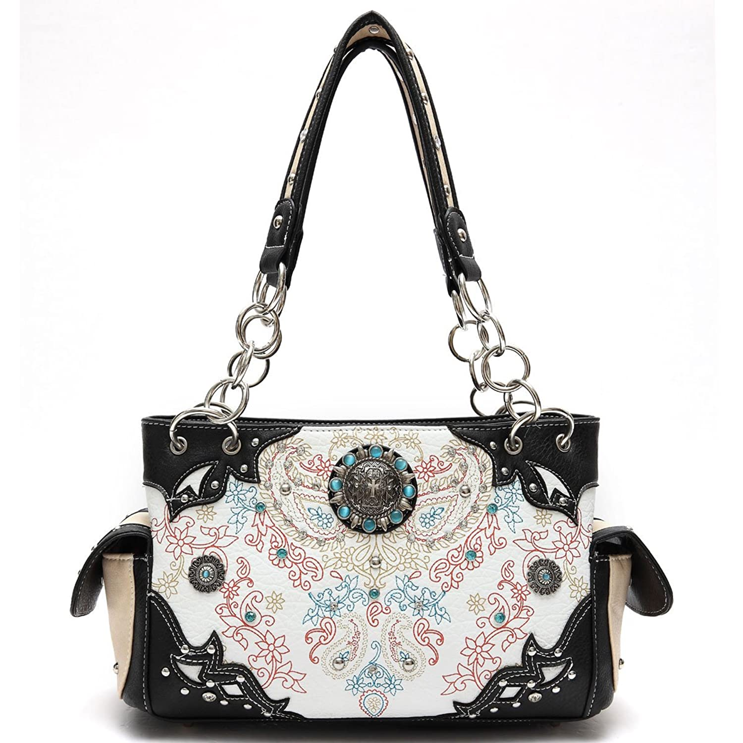 Cowgirl Trendy Concho Floral Print Tote Bag in Black