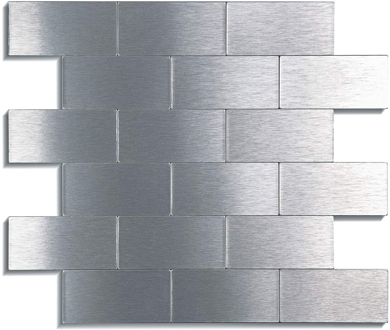 "LONGKING LK 5pcs Premium Self-Adhesive Metal Tiles - Peel and Stick Backsplash Tiles for Kitchen (LKB6632, 12""x12"", Silver)"