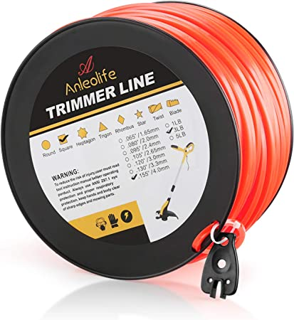 Anleolife 3-Pound Commercial Square .155-Inch by 280-Ft String Trimmer Line - Optimum Choice for Heavy Duty Task