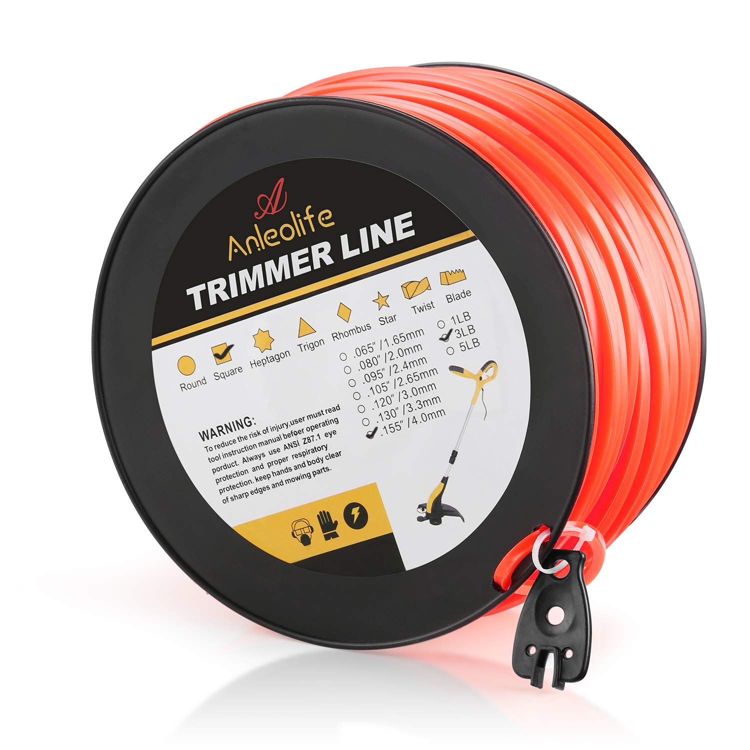 Anleolife 3-Pound Commercial Square .155-Inch-by-280-ft String Trimmer Line in Spool,with Bonus Line Cutter, Orange by Anleolife