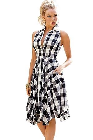 02027769d3 Robe-chemise asymétrique noir et blanche à carreaux pour  femme , robe