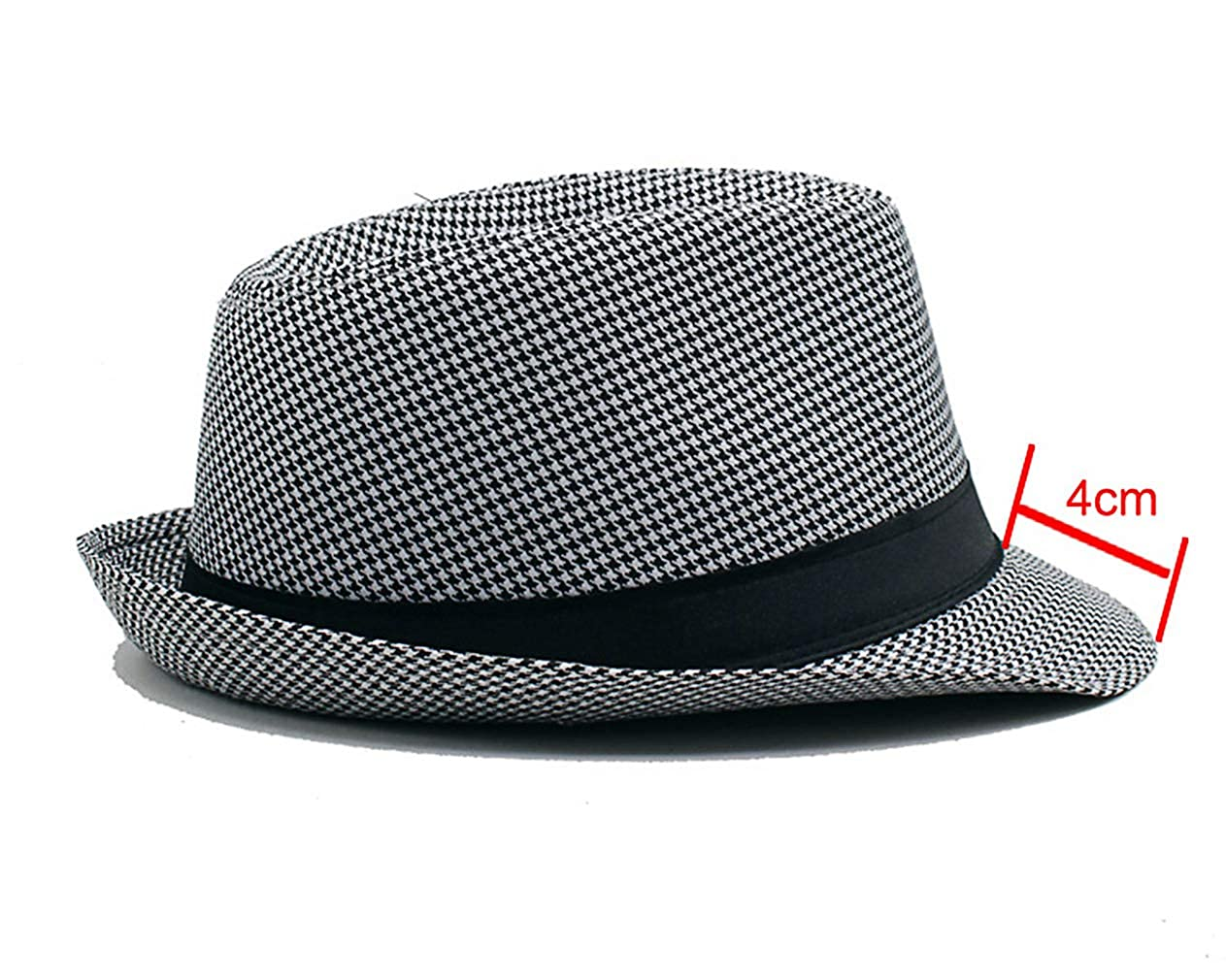 Fashion England Fedora Hat Houndstooth Pattern Mens and Womens Universal Couple Hat