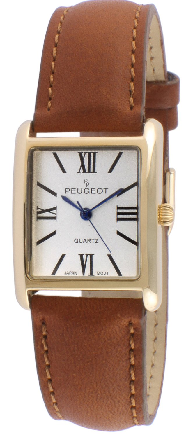 Peugeot Women's '14k Gold Plated Tank Roman Numeral Band' Quartz Stainless Steel and Leather Dress Watch, Color Brown (Model: 3036BR)