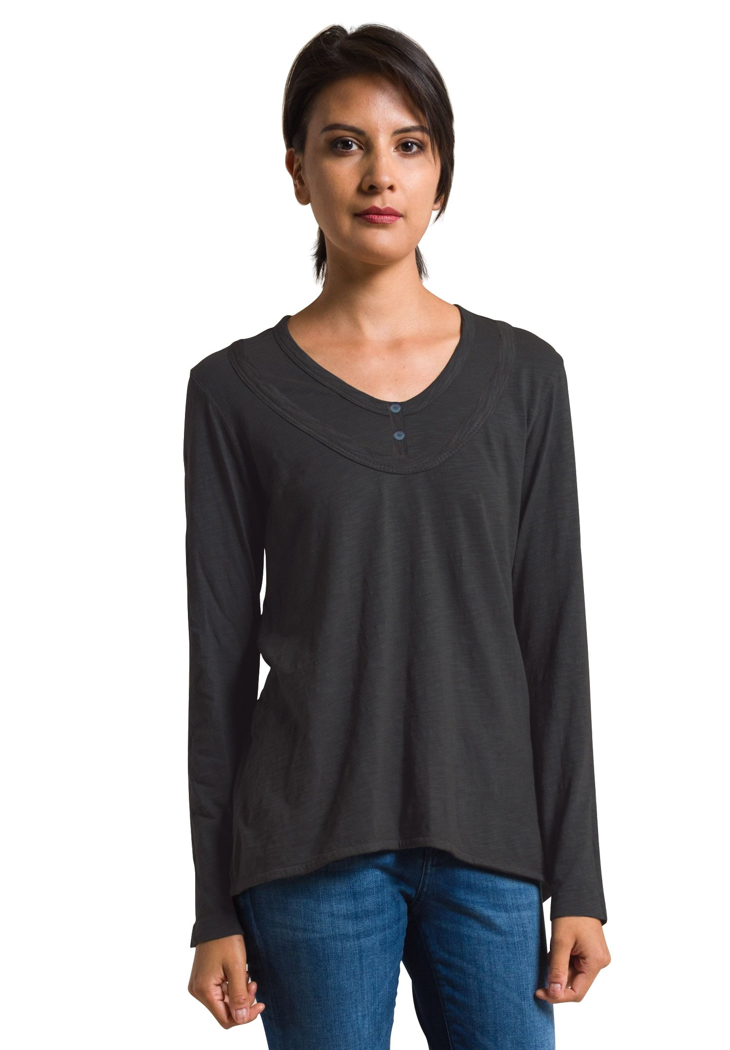 Wilt Women's Mock Layered Long Sleeve Shrunken Henley, Black, Medium by Wilt