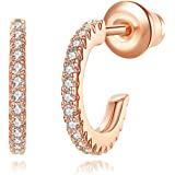 Wowshow Cubic Zirconia Mini Hoop Earrings 14K Gold/White Gold/Rose Gold Plated Stud Earrings for Women Girls
