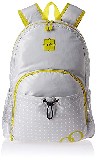 Hoom by HMI 21 ltrs 17.5 Inch Classic Nylon Backpack with Secure Zippers, Grey/Yellow