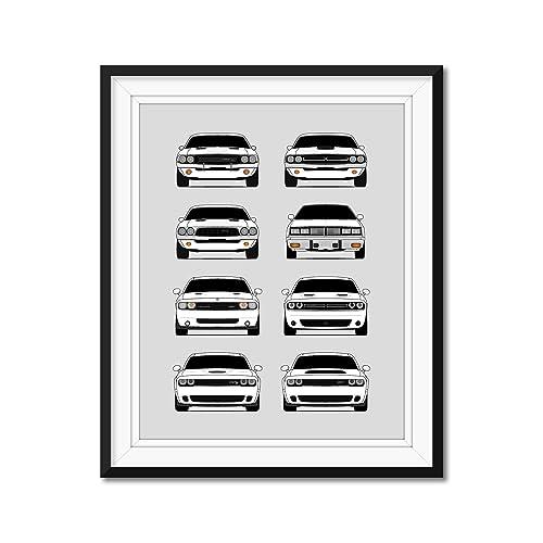 Amazon Com Dodge Challenger Generations Inspired Poster Print Wall Art Handmade Decor Of The History And Evolution Of The Challenger Srt Handmade