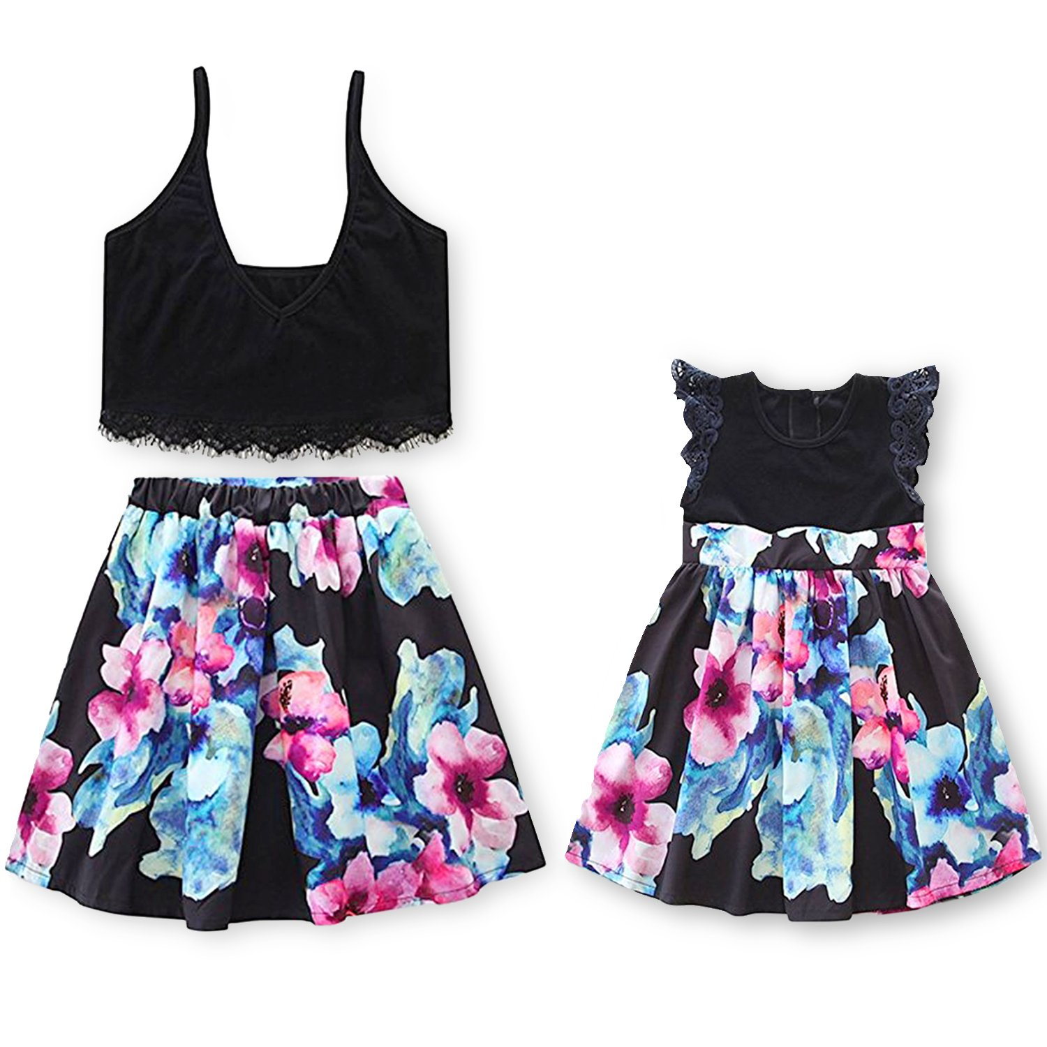 7a3101e635 Amazon.com: Garlagy 2018 Mommy Me Family Matching Outfits Mother Girl  Casual Dresses Summer Clothes Set (Women: X-Large(US 14-16), A-Black Flower( Mommy)): ...
