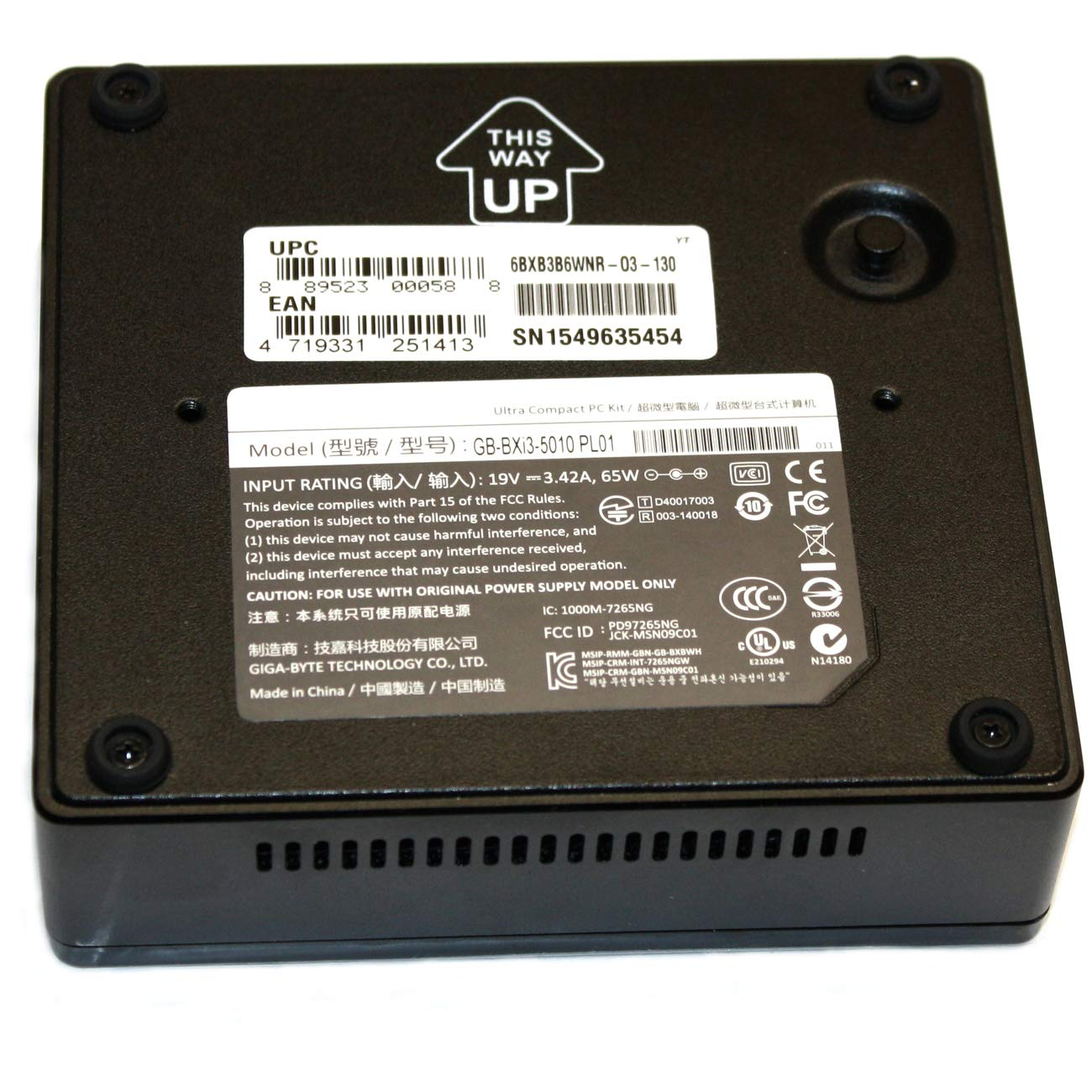 Renewed GigaByte Brix Mini PC Computer Core i3-5010U 4GB Ram 120GB SSD Windows 10 Pro GB-BXi3-5010