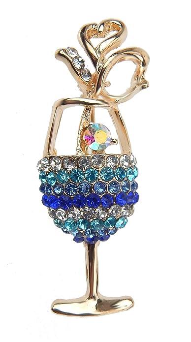 Brosche Cocktailglas gold blau Strass by Ella Jonte Ziernadel Cocktail Glas bf0f74b62b