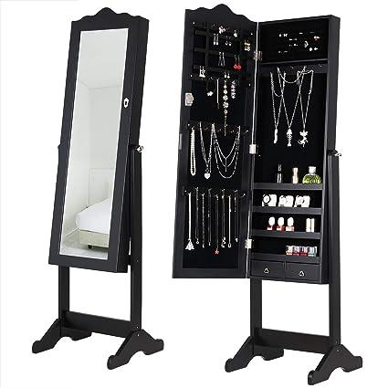 Deuba Armoire à Bijoux Moderne avec Miroir et tiroirs Noir Rangement  Accessoires