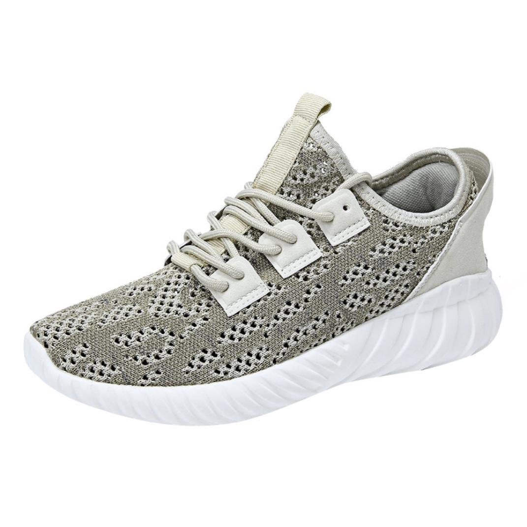 Clearance Men Running Shoe,2018 Unique Mesh Lightweight Breathable Casual Sneakers (Khaki, US:8.5)