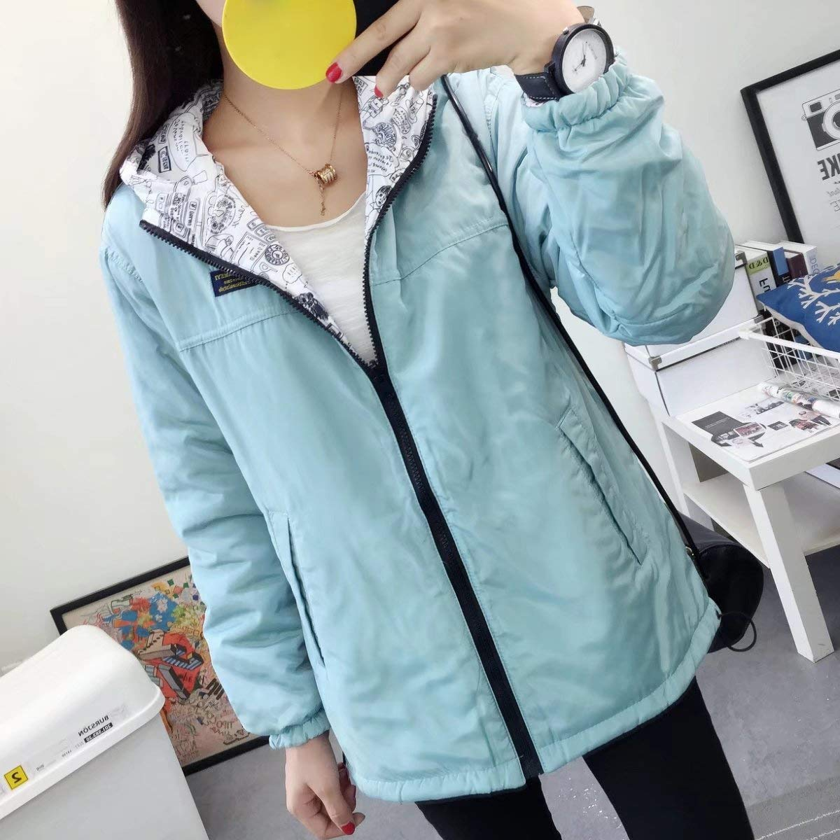 YUNY Womens Casual Outdoor Active Hiking Travel Thickened Hood Jackets Sky Blue XL