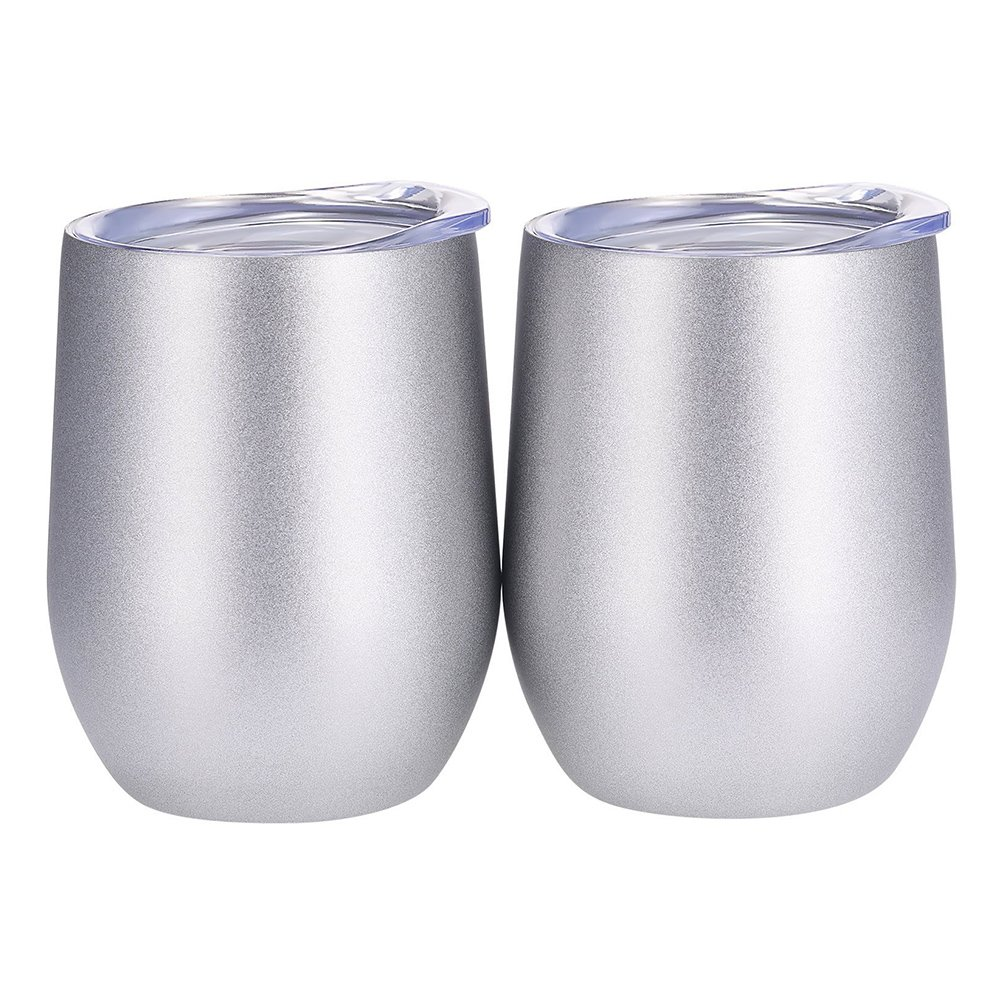 GOBEAUTY 2 Pack 12 OZ Stainless Steel Wine Glasses, Vacuum Insulated with Lids Double Wall Stemless Metal Wine Glass for Outdoor Trav