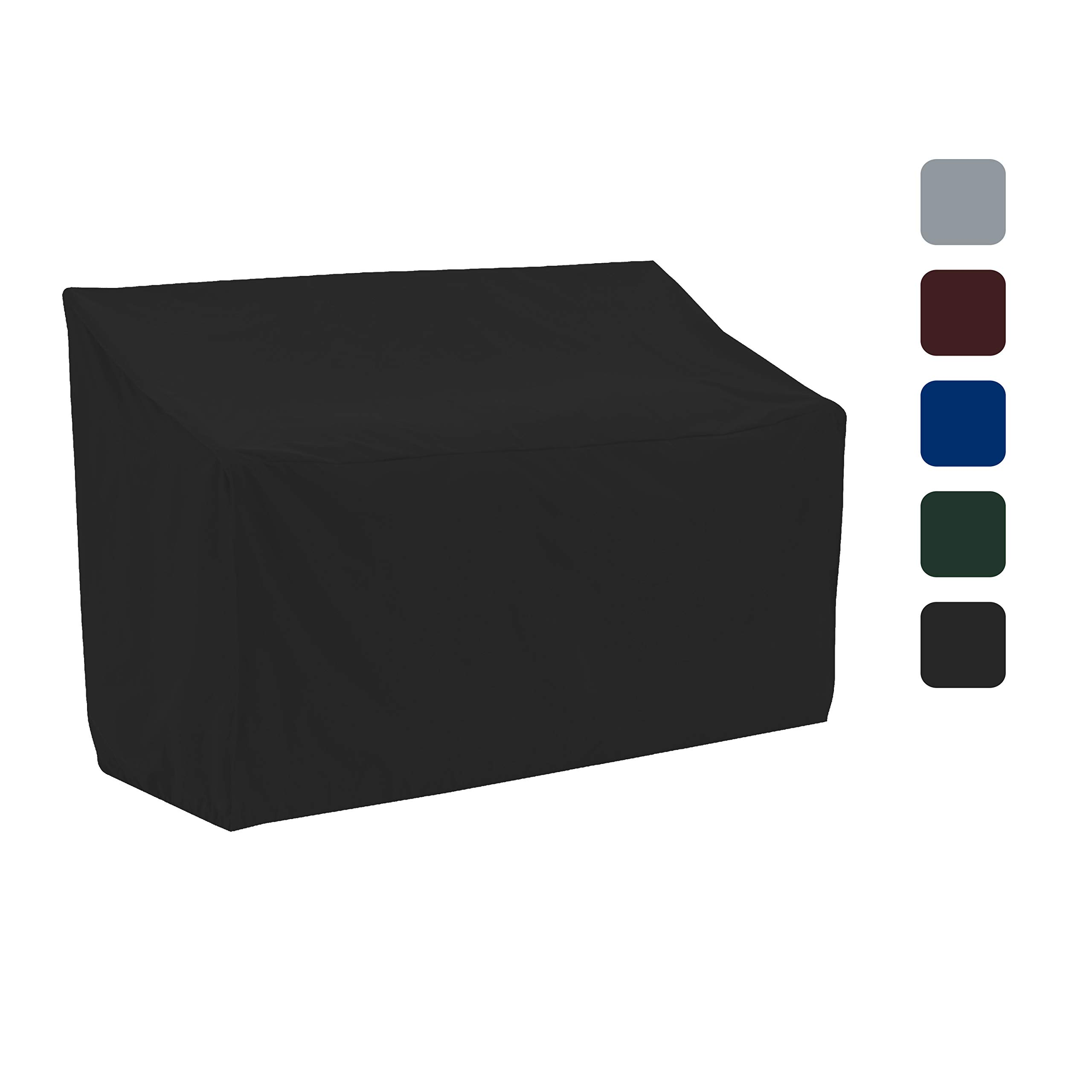 COVERS & ALL Bench Cover 18 Oz Waterproof - 100% UV & Weather Resistant Customizable Bench Seat Cover with Air Pockets and Drawstring for Snug Fit (50'' X 28.5'' X 30'', Black)